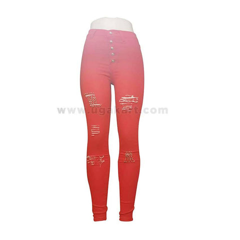 Distressed Red Ladies Pant