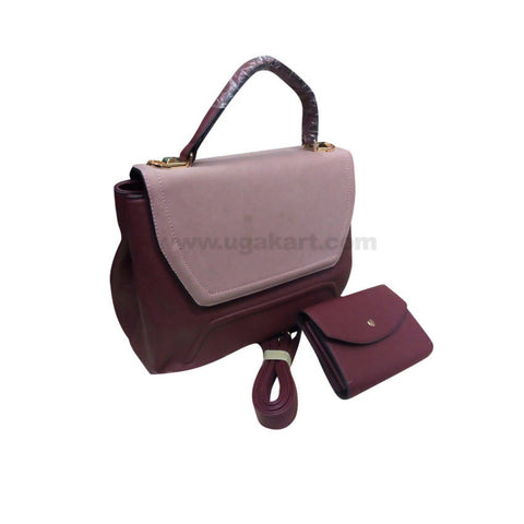 Pink & Maroon Set of Two Women'S Hand Bag