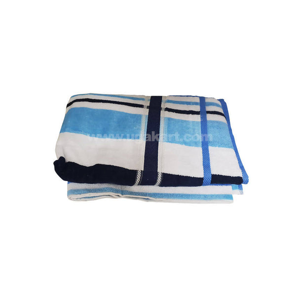 Bath Towel Blue And White Strips-Size 70X140Cm