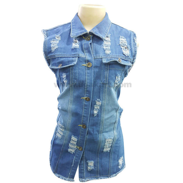 Women's Casual Blue Faded Sleeveless Button Down Jean Shirt_Free Size