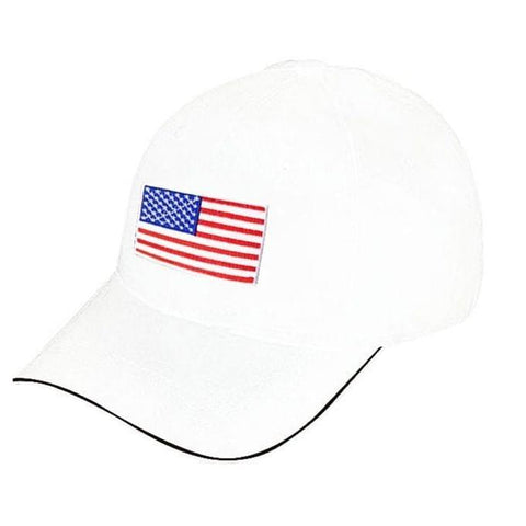 US Flag Designed Cap - White