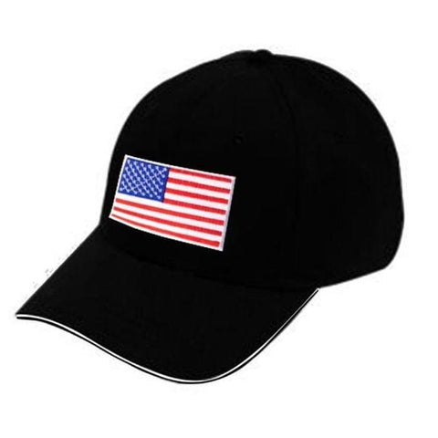US Flag Designed Cap - Black