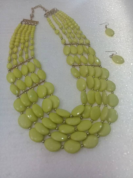Light Green Necklace With Earings