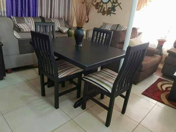Black Rectangular Dining Table With Four Chairs