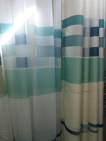 White And Green Curtains Per Meter