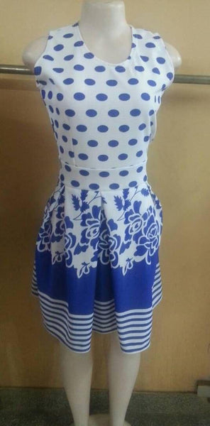 Round Blue And White Dress