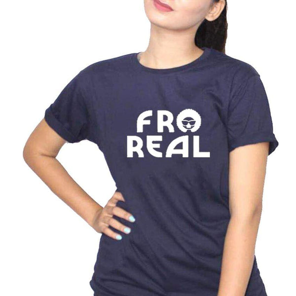Afro Real Navy Blue Ladies T-Shirt