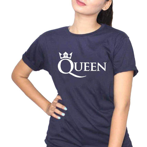 Queen 4 Navy Blue Ladies T-Shirt