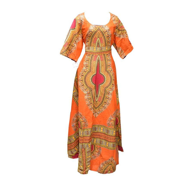 Dashiki Orange Long Dress