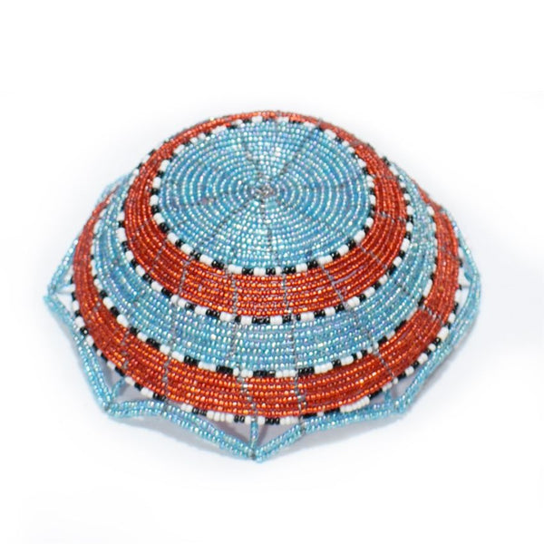 Fruits Beaded Basket Light Blue And Red