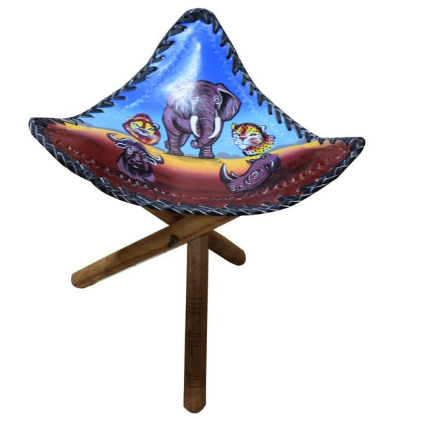 African Stool Blue