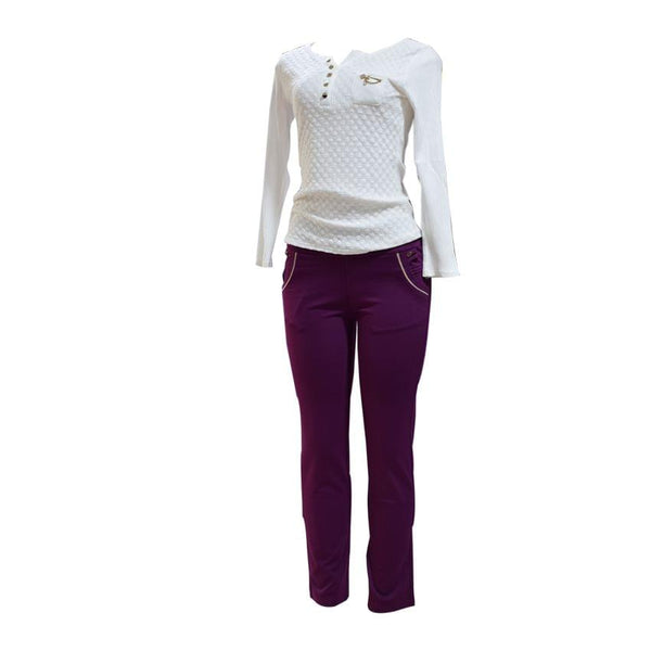 White Long Sleeved Top And Purple Casual Trouser