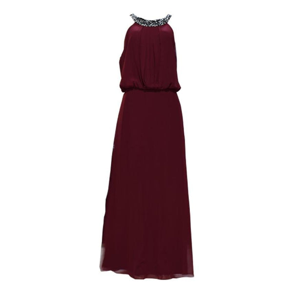 Maroon Long Designers Shiffon Dress