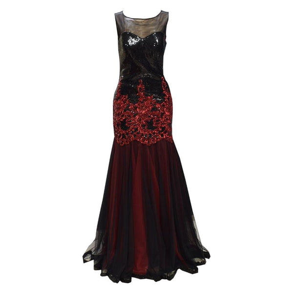 Black And Red Netted Bridal Dress