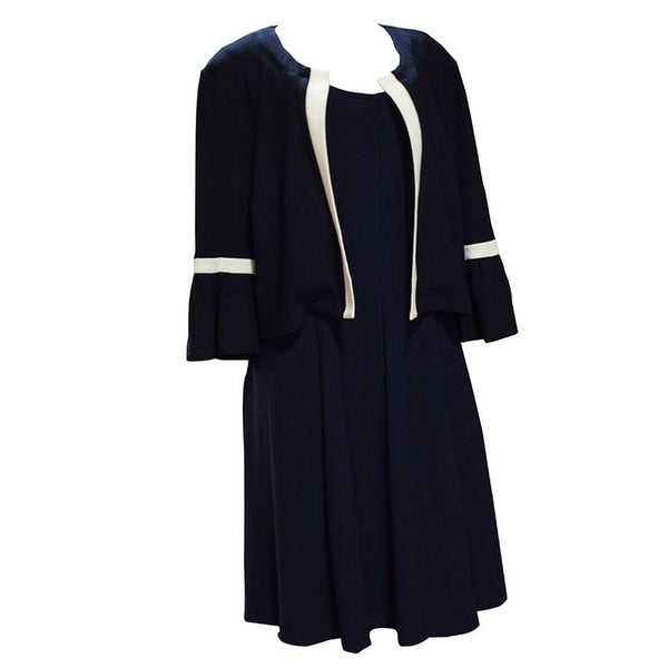 Short Navy Blue And White Dress