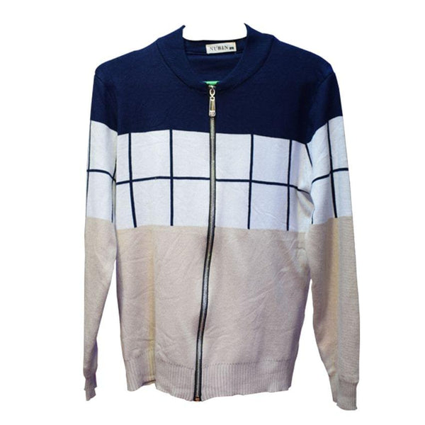 Navy Blue,White And Cream Coloured Sweater