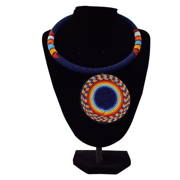 Multicoloured Dark Blue Rounded African Necklace