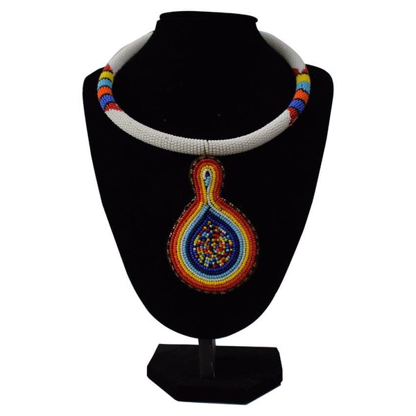 Multicoloured Off White Rounded African Necklace