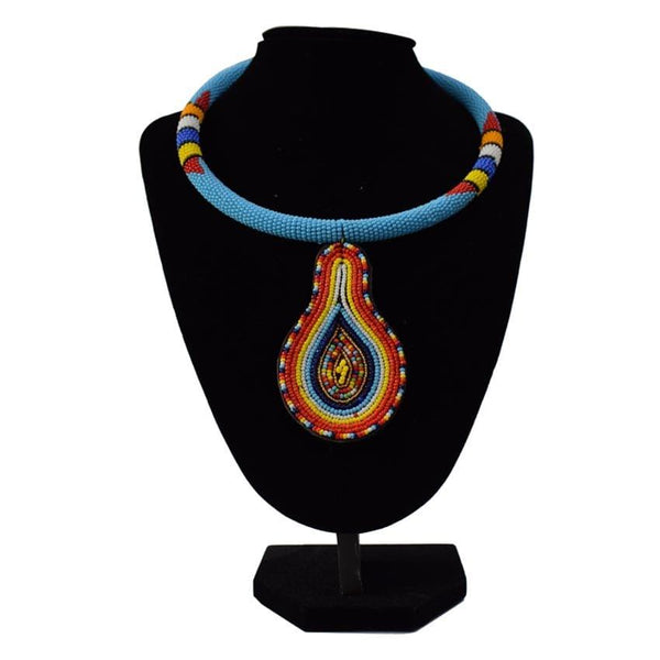 Multicoloured Light Blue African Necklace