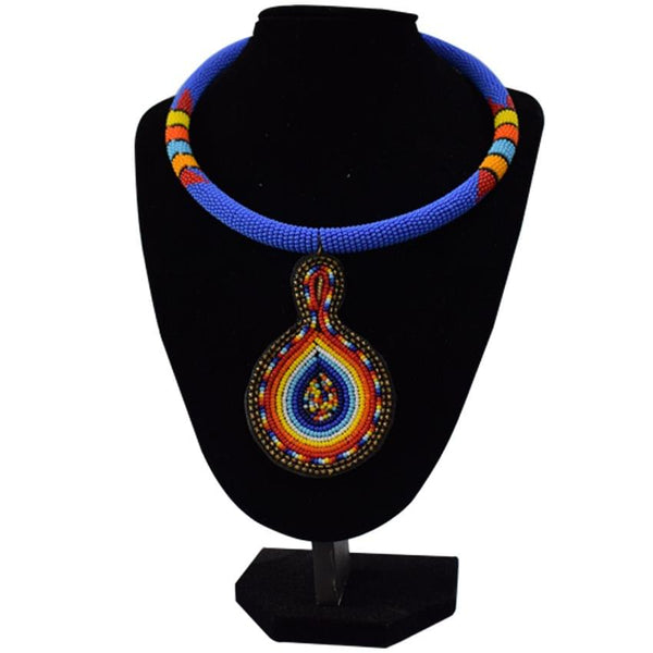 Multicoloured Blue African Necklace
