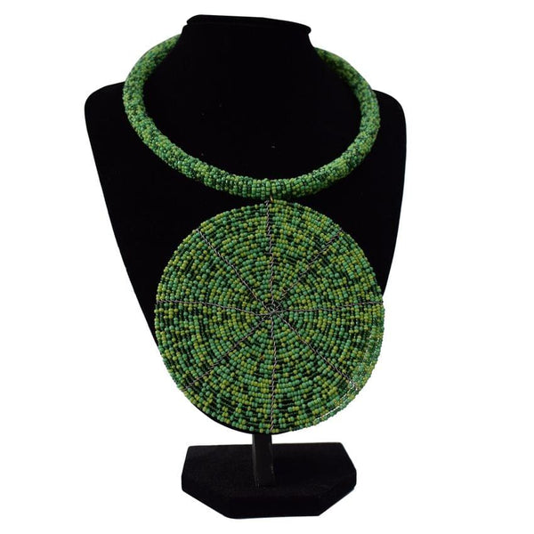 Multicoloured Green Detailed African Necklace