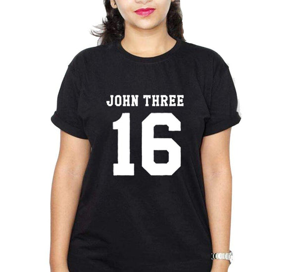 John Three 16 Black Ladies Round Neck T-Shirt