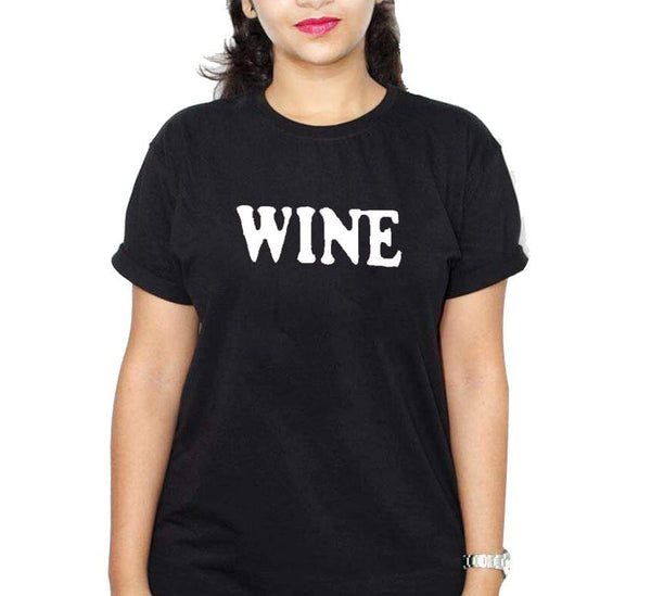 Wine Black Ladies Round Neck T-Shirt