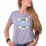 Live For Christ He Died For You Grey Ladies Round Neck T-Shirt