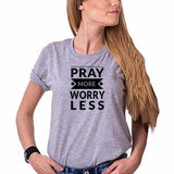 Pray More Worry Less Grey Ladies Round Neck T-Shirt