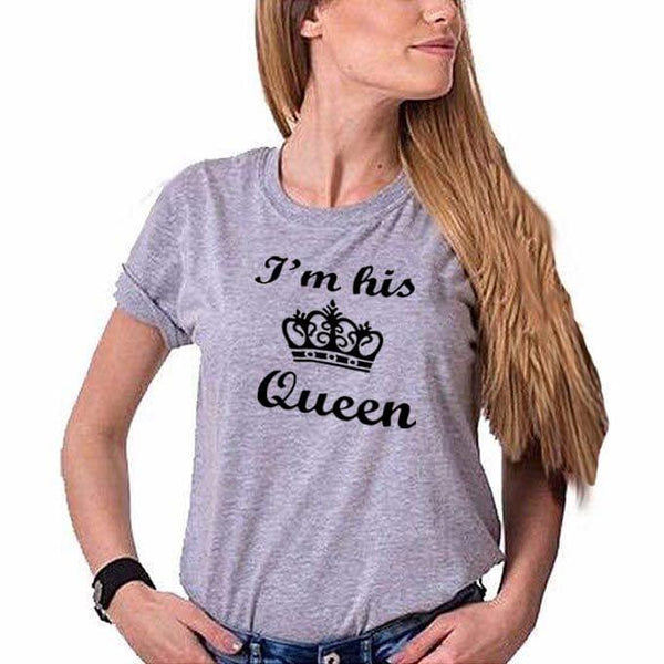 I'm His Queen Grey Ladies Round Neck T-Shirt