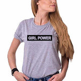 Girl Power Grey Ladies Round Neck T-Shirt