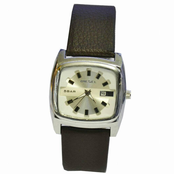 Diesel Silver And Black Leather Men's Watch