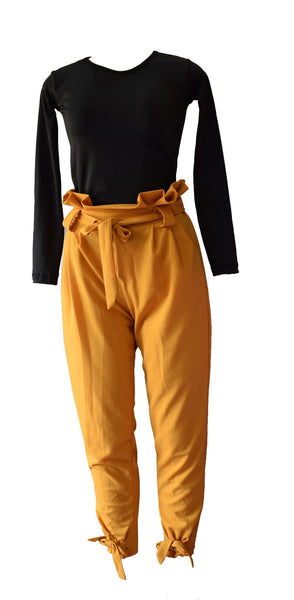 Black Top And Orange Trouser Classy Outfit