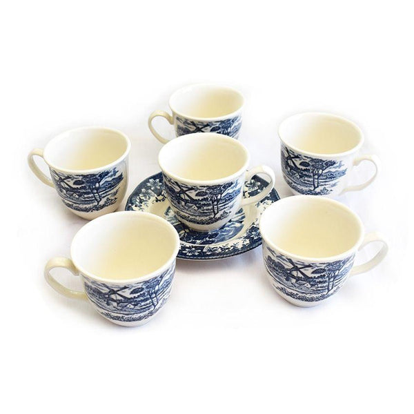 Windmill A Set Of Navy Blue And White Cups With Saucers