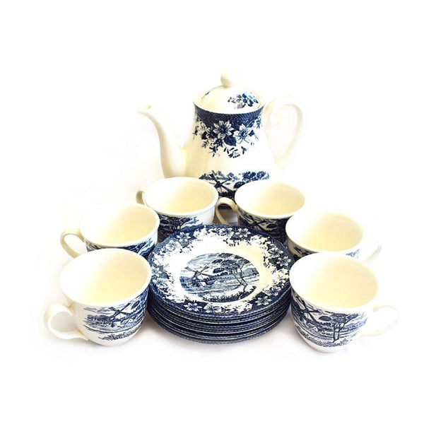 Windmill A Set Of Navy Blue And White Cups,Saucers And A Pot