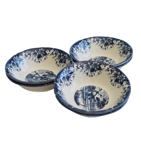 A Set Of Navy Blue And White Bowls 6 Pieces