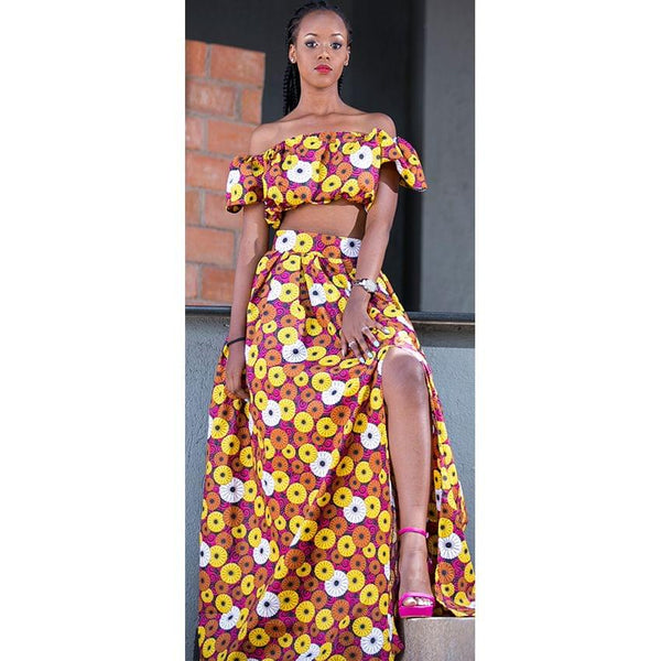 Multicoloured Long Slitted Skirt And Half Shoulder Top