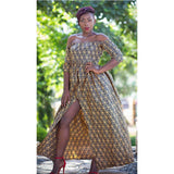 Long Slitted Off Shoulder Kitenge Dress
