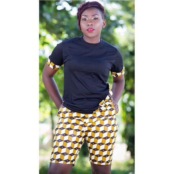 Kitenge Pair Of Shorts And Black T-Shirt
