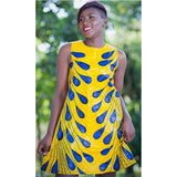 Blue And Yellow Short Round Kitenge Dress