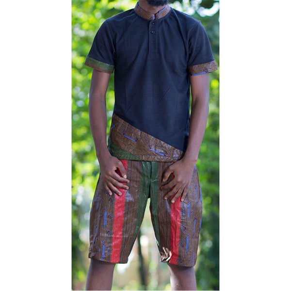 Kitenge Mens pair Of  Shorts And Blue T-Shirt