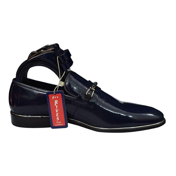Rives Navy Blue Men's Gentle Shoes And Belt
