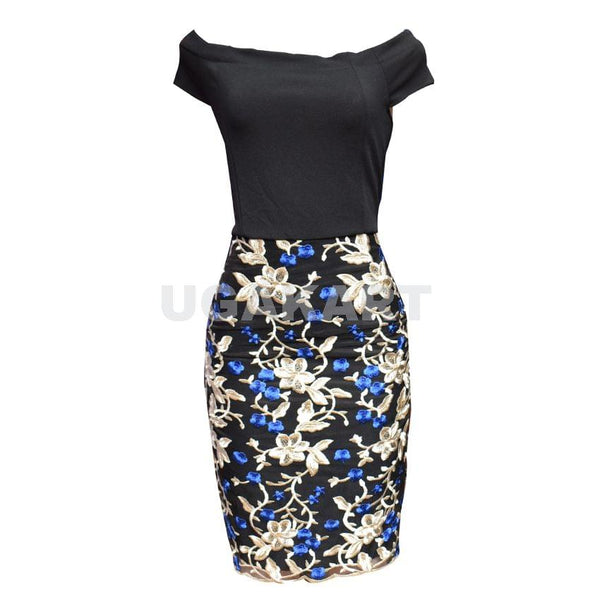 Black And Blue Floral Ladies Dress