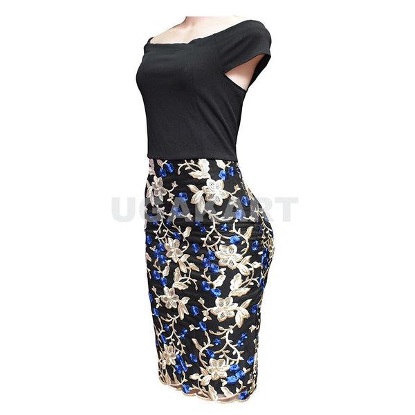 Black And Blue / Black And Green Floral Ladies Dress