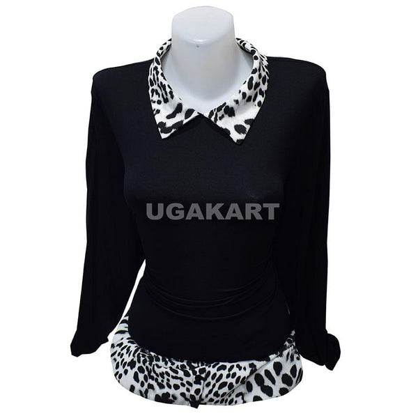 Black And White Top With Two Collars