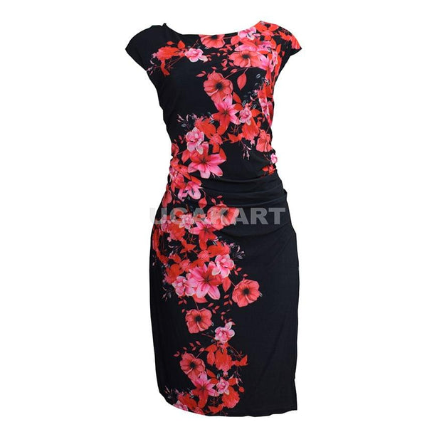 Red And Black Floral Dress