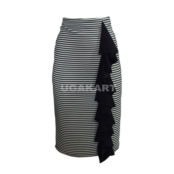 White And Black Stripped Skirt