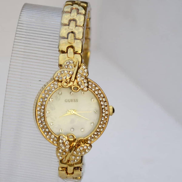 Guess Ladies Gold Watch With Stone