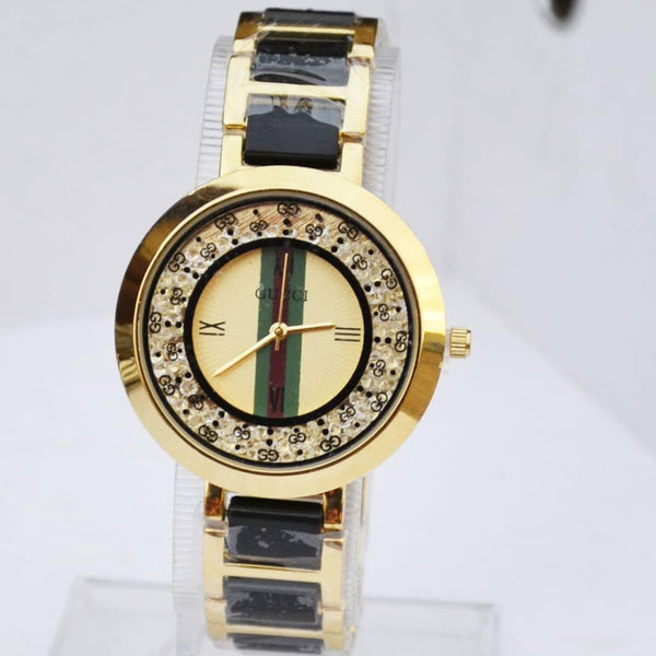 Gucci Ladies Gold And Black Watch