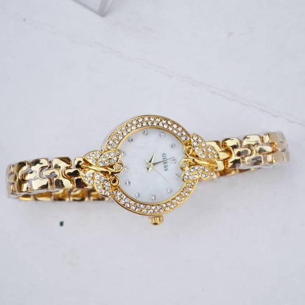 Guess Golden Ladies Watch With Stones